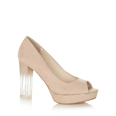 Red Herring - Natural textured peep toe high heel court shoes