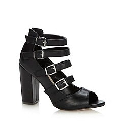 Red Herring - Black multi strap high block heeled sandals