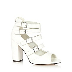 Red Herring - White multi strap high block heeled sandals