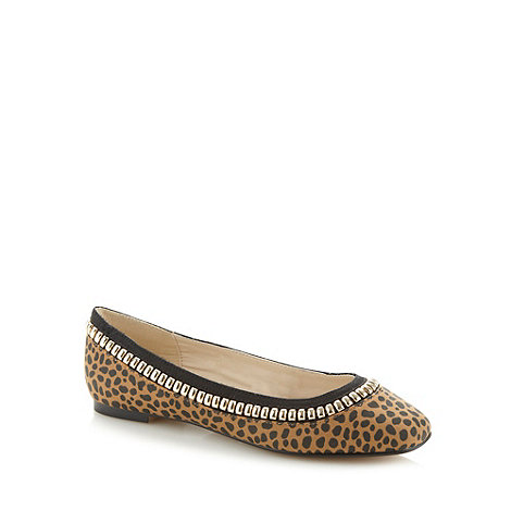 Red Herring - Tan studded trim animal pumps