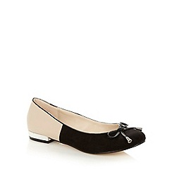 Red Herring - Black colour block bow pumps