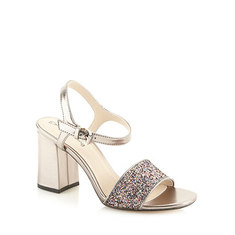 Red Herring - Dark grey glitter strap block heel sandals