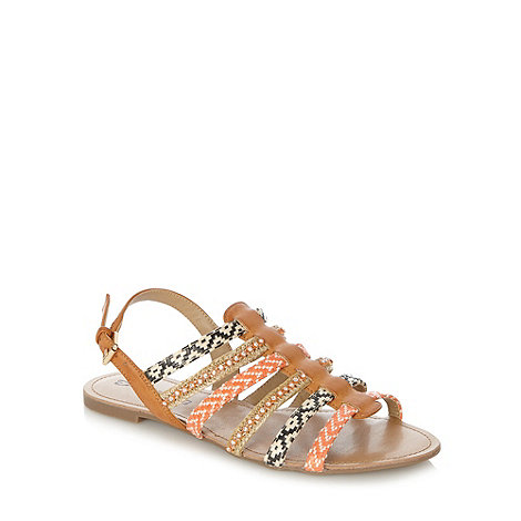 null - Natural mixed weave strap sandals