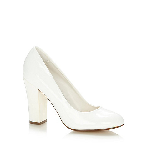 Red Herring - White patent high block heel court shoes