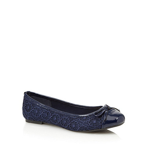 Red Herring - Navy crochet ballet pumps