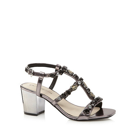 Red Herring - Grey metallic embellished mid sandals