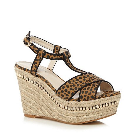 Red Herring - Tan animal print rope wedge heel sandals