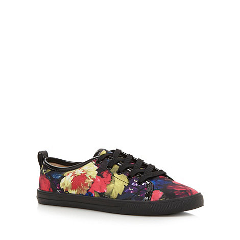 Red Herring - Black floral lace up pumps