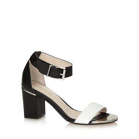 Red Herring - Black monochrome mid block heel sandals