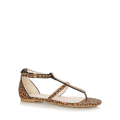 Red Herring - Tan leopard print flat sandals