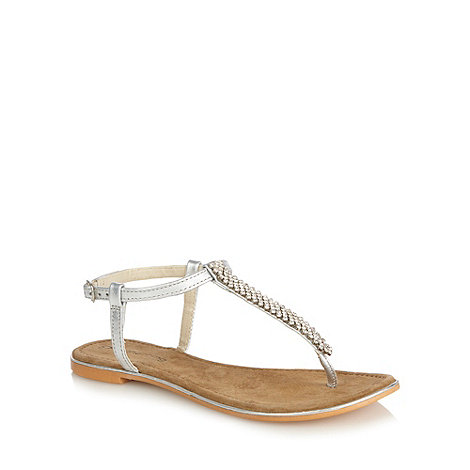 Red Herring - Silver diamante T-bar strap sandals