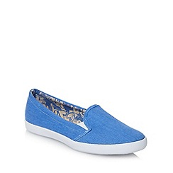 Red Herring - Blue canvas slip on trainers