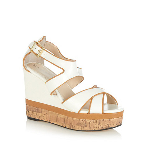 Red Herring - White crossover strap high wedge sandals