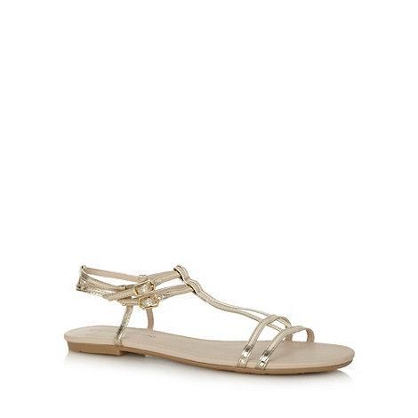 Red Herring - Gold T-bar flat sandals