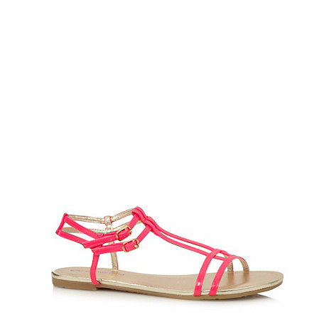 Red Herring - Pink patent T-bar sandals