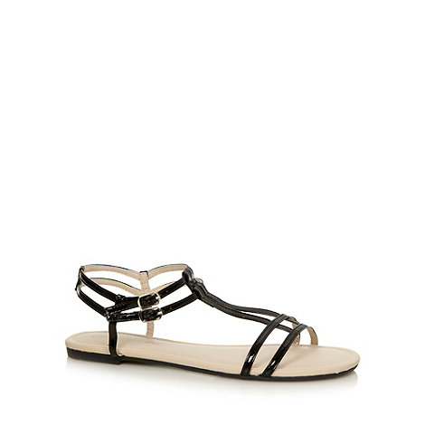 Red Herring - Black patent T-bar sandals
