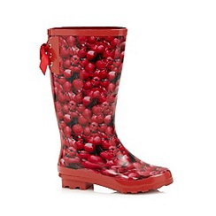 Red Herring - Red cherry print lace back wellies