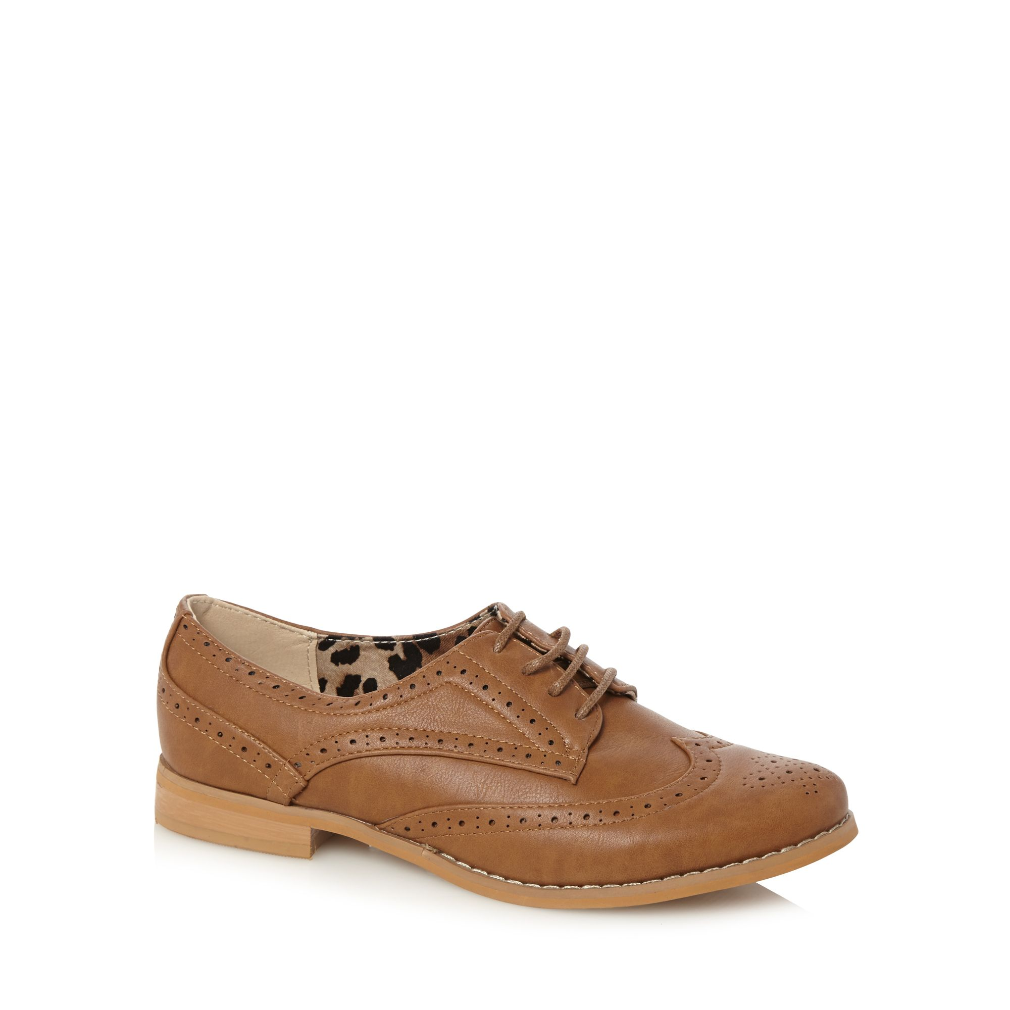 Red Herring Womens Tan Punched Hole Lace Up Brogues From ...