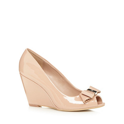 The Collection - Natural patent wedge bow peep toe shoes