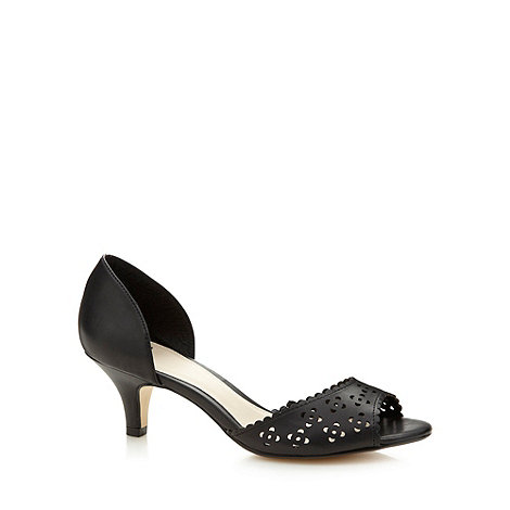 The Collection - Black cutout mid heel shoes