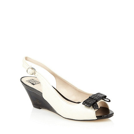 The Collection - Cream studded bow mid wedge sandals