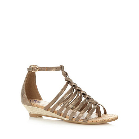 Mantaray - Bronze metallic multi strap low wedges