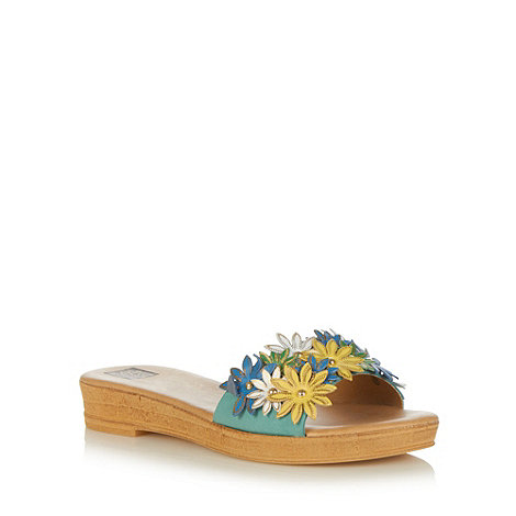 The Collection - Turquoise leather applique flower low wedge sandals