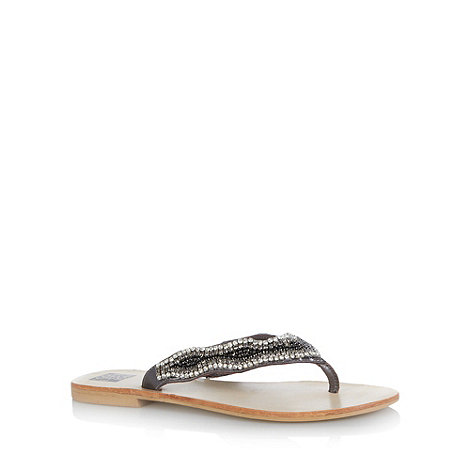 The Collection - Silver embellished leather strap flip flops