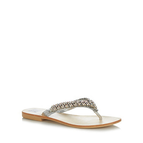 The Collection - Silver leather embellished sandals