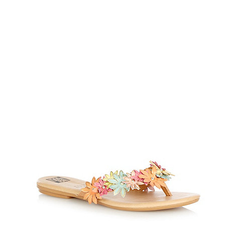 The Collection - Multi 'Montreal' textured flower sandals