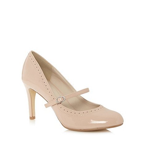 The Collection - Pale pink brogue pattern court shoes