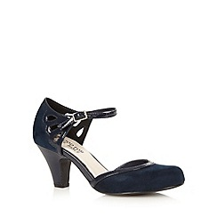 Good for the Sole - Navy cutout wide fit mid heeled court shoes