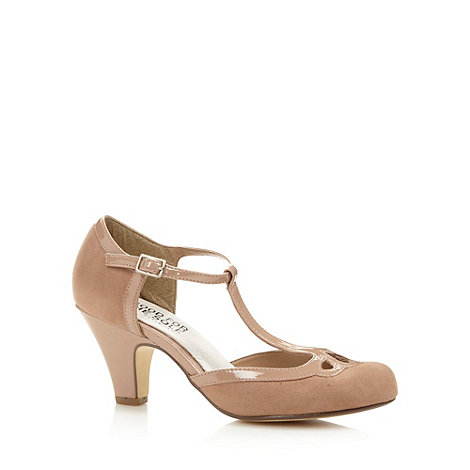 Good for the Sole - Beige wide fit patent trim T-bar court shoes