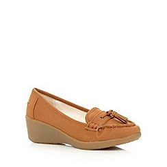 Good for the Sole - Tan mid wedge wide fit loafers