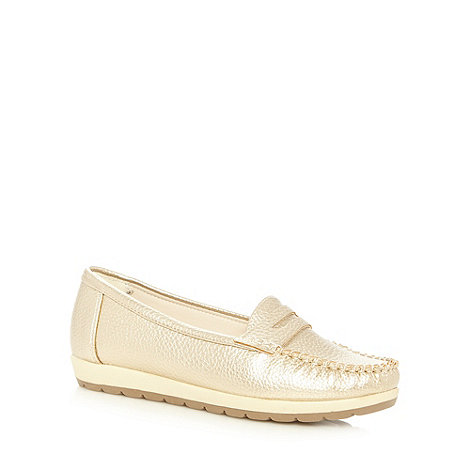 Good for the Sole - Gold toned wide fit loafers