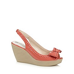 Good for the Sole - Peach patent weave trim wide fit high wedges