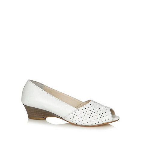Good for the Sole - White leather cutout wide fit court shoes