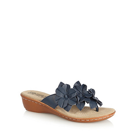 Good for the Sole - Navy leather flower strap wide fit wedge sandals