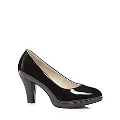 Good for the Sole - Black patent high heeled wide fit court shoes