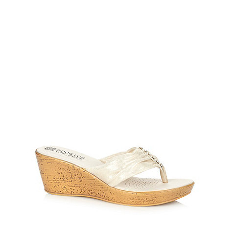 Good for the Sole - Gold diamante strap wide fit mid wedge sandals