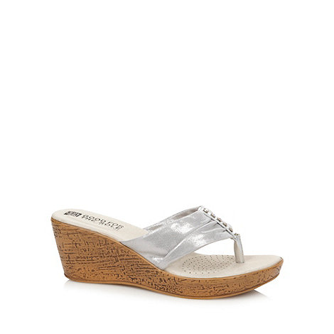 Good for the Sole - Silver diamante strap wide fit mid wedge sandals