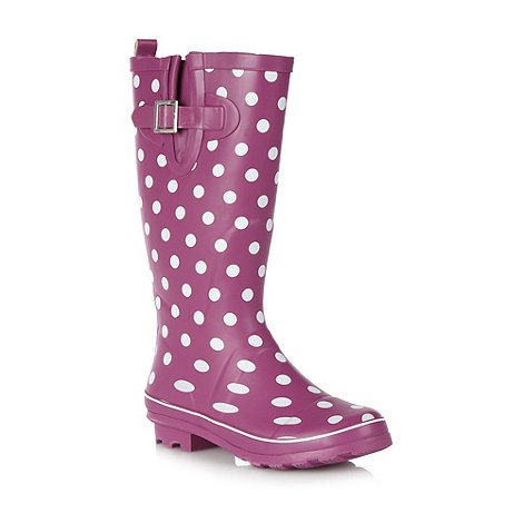 Mantaray - Dark pink spotted wellington boots