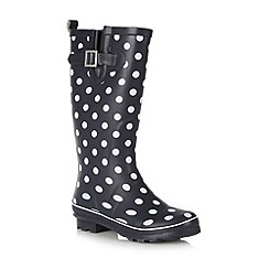 Mantaray - Navy spotted wellington boots