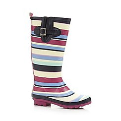Mantaray - Dark pink striped rubber wellies