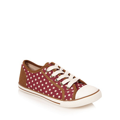 Mantaray - Dark pink spotted canvas trainers