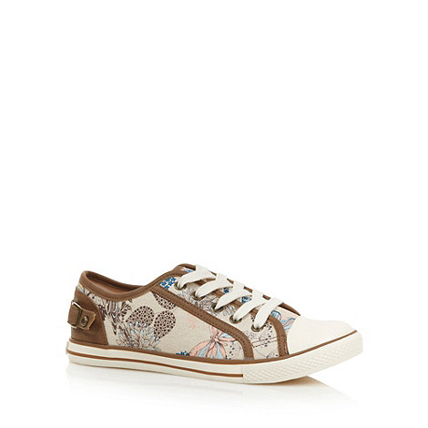 Mantaray - Tan floral lace up trainers