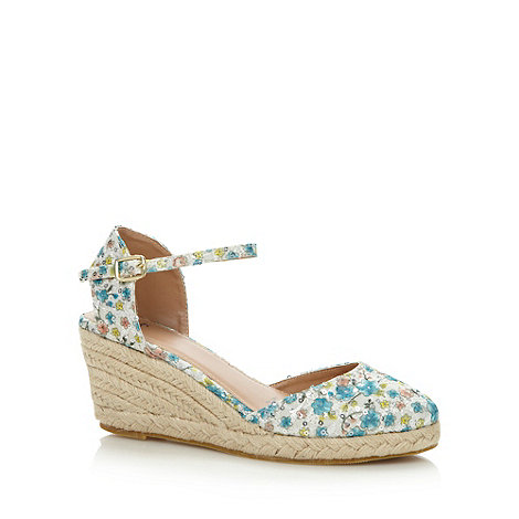 Mantaray - Turquoise sequin floral mid wedge shoes