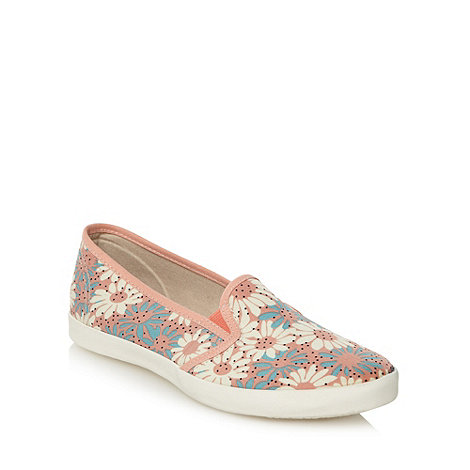 Mantaray - Pink daisy print slip on trainers
