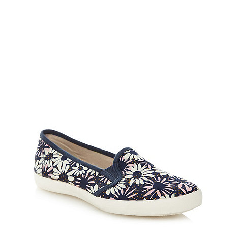 Mantaray - Navy daisy print slip on trainers