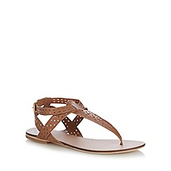 Mantaray - Tan laser cut leather sandals